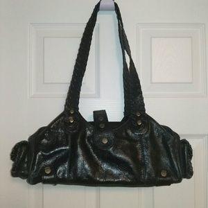 Designer inspired black genuine leather bag